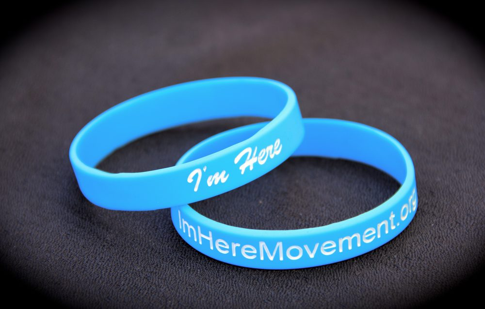 """I'm Here"" Silicone Wristband in Ice Blue"